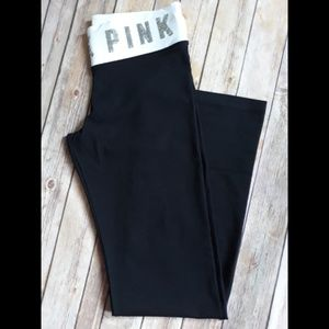 VS Pink Sequin Bling Cotton Yoga Flare Pants